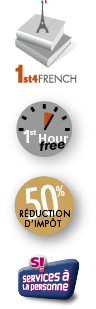 logo first for french, dot first hour free, tax reduction, service à la personne